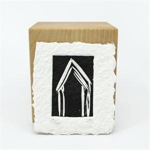 Chalet, linogravure sur papier fait main, non-encadré