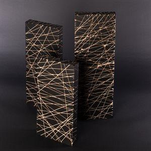 Vie, sculpture triptyque autoportante, érable peint
