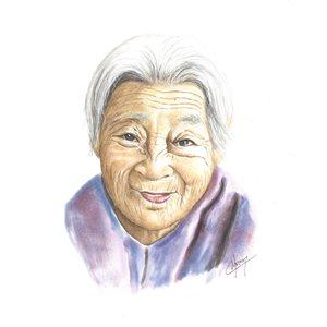Kindness, pastel portrait and ink, unframed