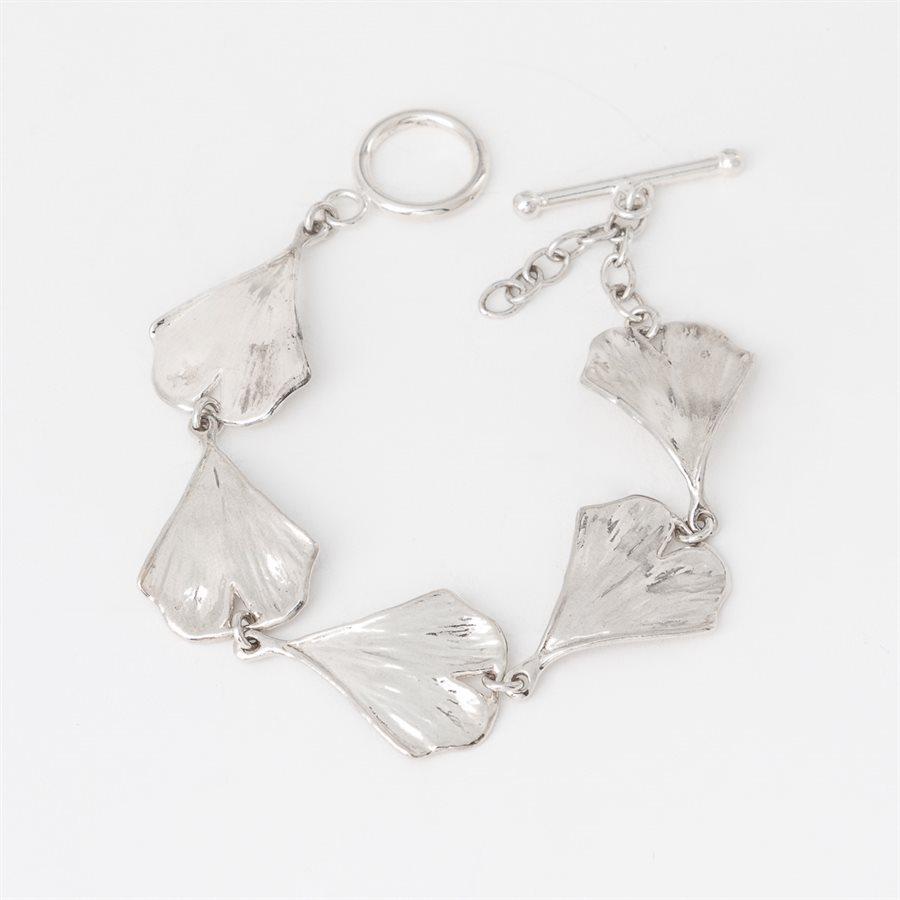 Bracelet feuille de Ginkgo en argent