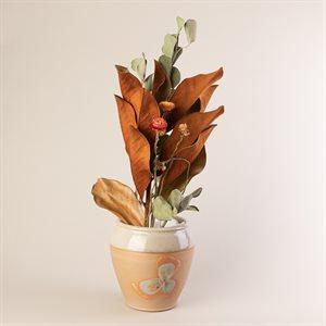 Vase à fleur en grès, fleur et glaçure Shino