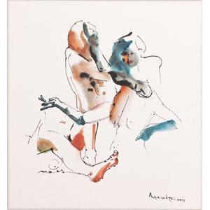 Femme aux gants, encre et aquarelle, papier marouflé sur toile