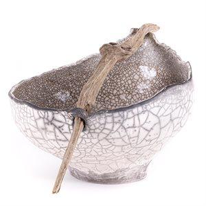 Grand bol en céramique RAKU, ornement de bois flotté