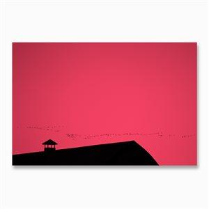 Et le soleil se coucha comme dans une BD, montage sous acrylique