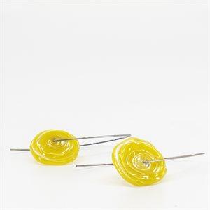 Boucle d'oreille épingle en stainless et pièce de verre