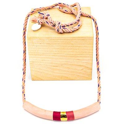 Collier de fibre naturelle et céramique décoré d'or