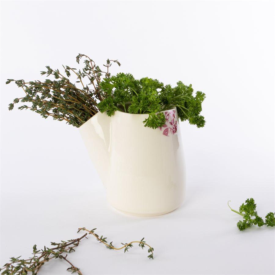 Pot fines herbes Glitch, céramique, décalque citronnier rose