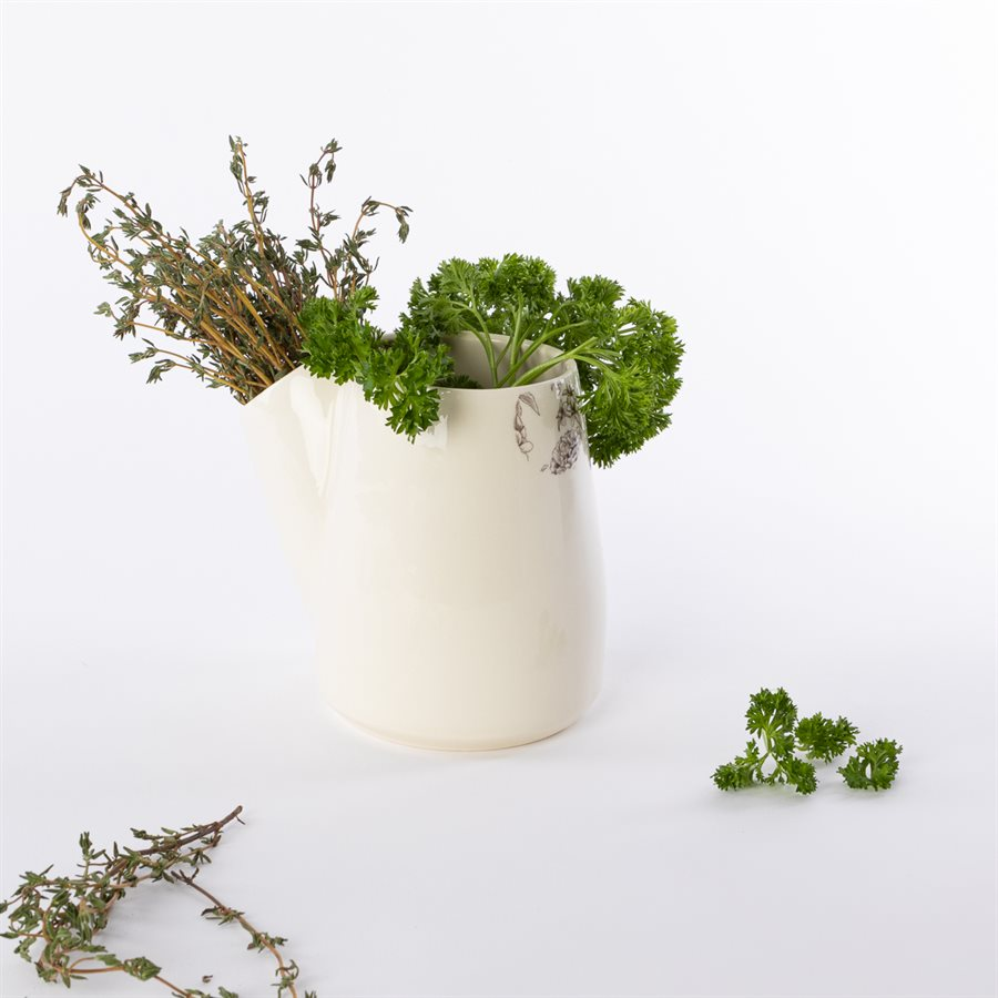 Pot à fines herbes Glitch, céramique et décalque pavot noir