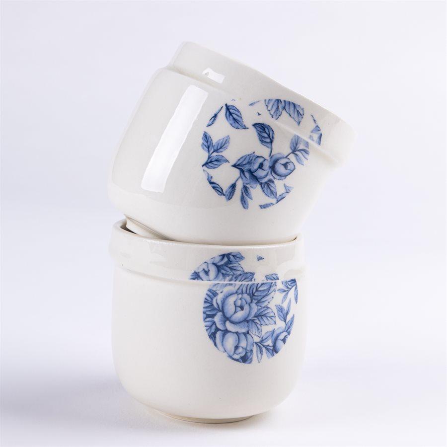 Petit gobelet Glitch, céramique et décalque fleur de citronnier bleu