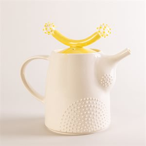 Ceramic teapot and glass ornaments