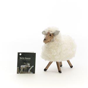 Mouton sculpté en bois et laine de mouton véritable
