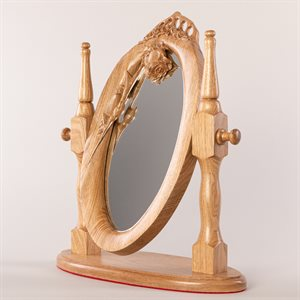 Miroir à bascule en bois sculpté, couronne de roses