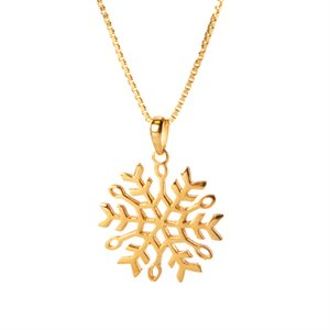 Pendentif flocon de neige en argent plaqué or