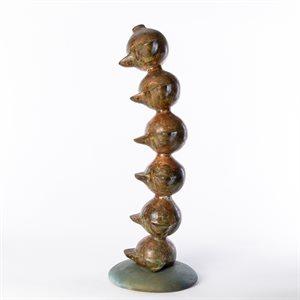 La sculpture totémique, laiton chaudronné
