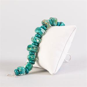 Bracelet en billes de verre faites main, avec feuilles d'argent