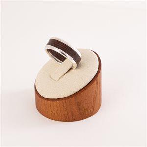 Bague en bois satiné rubané et en argent, modèle simple, 5 mm