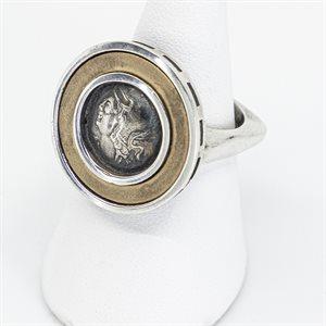 Bague argent sterling, constantine II, anneau or 14K