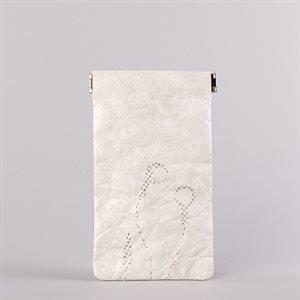 Étui porte-tout, petit format, modèle écouteur, blanc et gris
