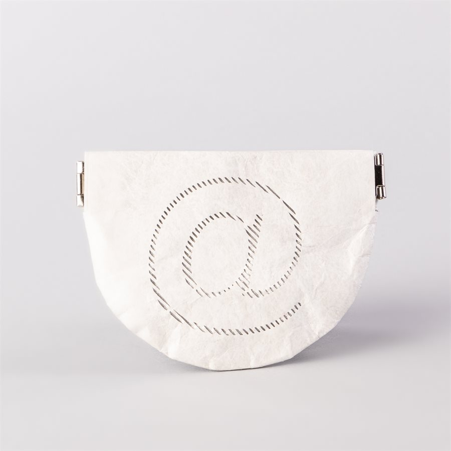 Portemonnaie en tyvek, modèle @, blanc et argent