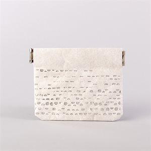 Portemonnaie en tyvek, modèle demi-lune, blanc et argent
