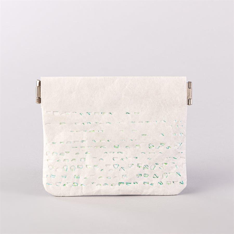 Portemonnaie en tyvek, modèle demi-lune, blanc et vert