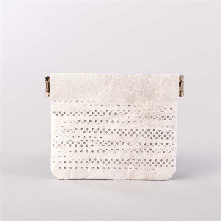 Portemonnaie en tyvek, modèle pointillé, blanc et argent