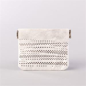 Portemonnaie en tyvek, modèle pointillé, blanc et gris