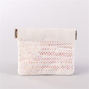 Portemonnaie en tyvek, modèle pointillé, blanc et rose