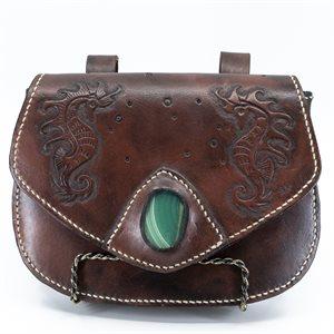 Sac transformable en cuir repoussé (sac bandouillère ou sac de taille)