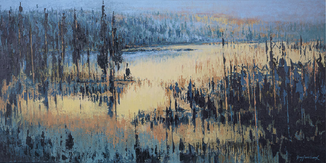 Emergence, painting canvas by the painter artist Guy Lemieux