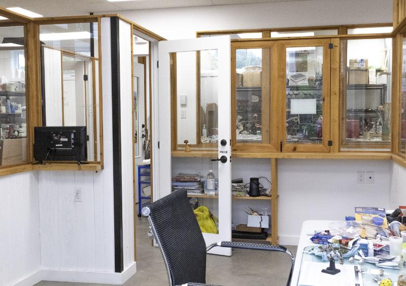 Vu de l'intérieur de l'atelier
